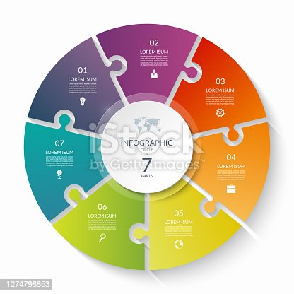istock Puzzle infographic circle with 7 steps, options, pieces. Seven-part cycle chart. 1274798853