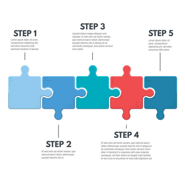 puzzle infographic steps - part of a series stock illustrations, clip art, cartoons, & icons