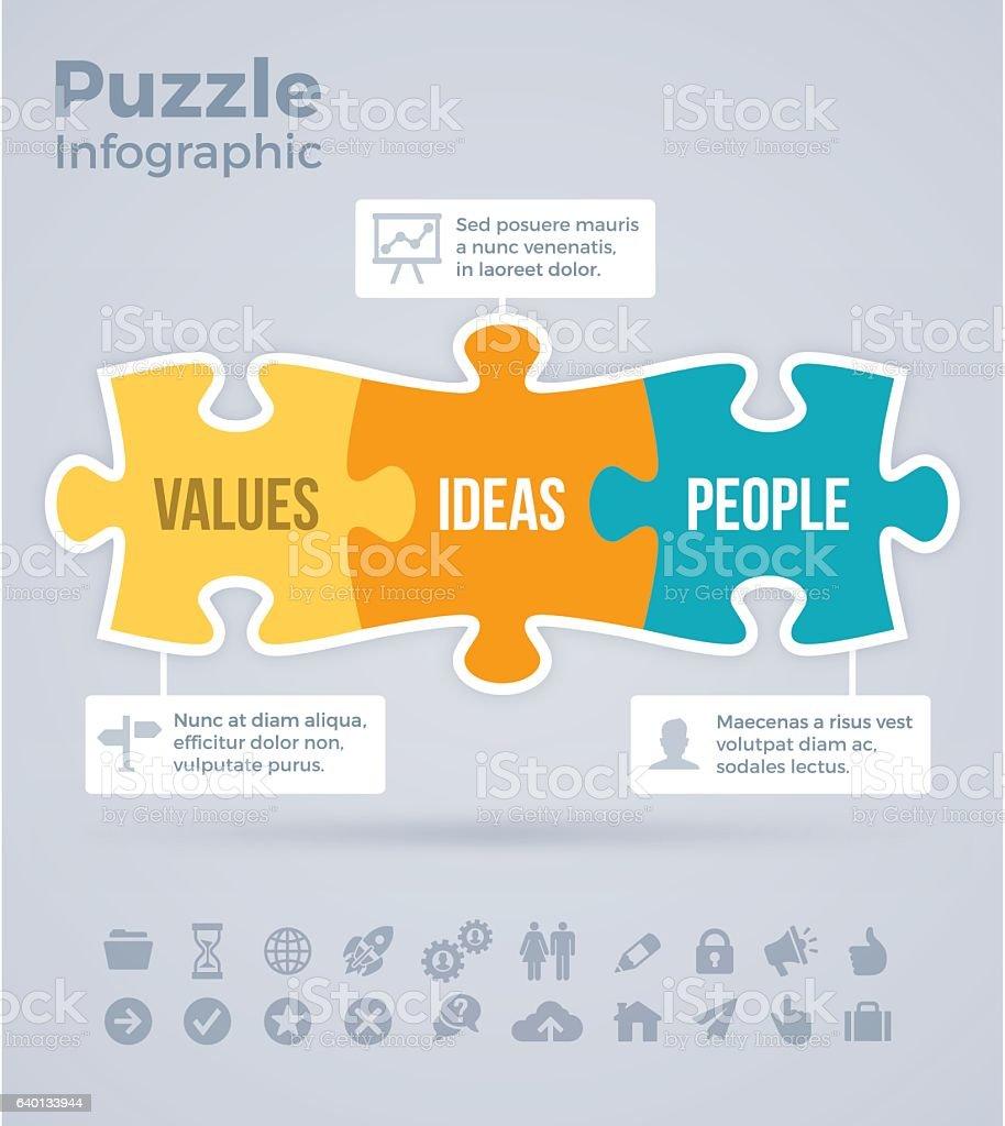 Puzzle Infographic vektör sanat illüstrasyonu