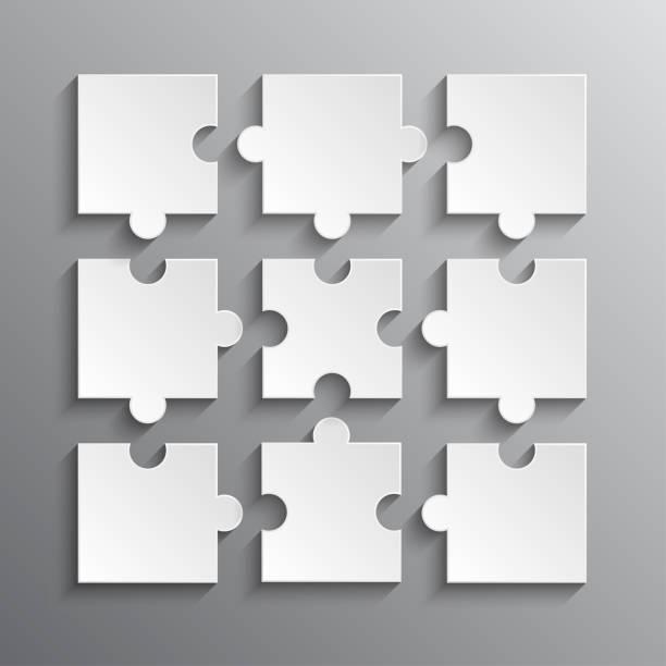puzzle-säge 9 weiße getrennte stücke, details, fliesen, teile. spielgruppe detail. - puzzle stock-grafiken, -clipart, -cartoons und -symbole