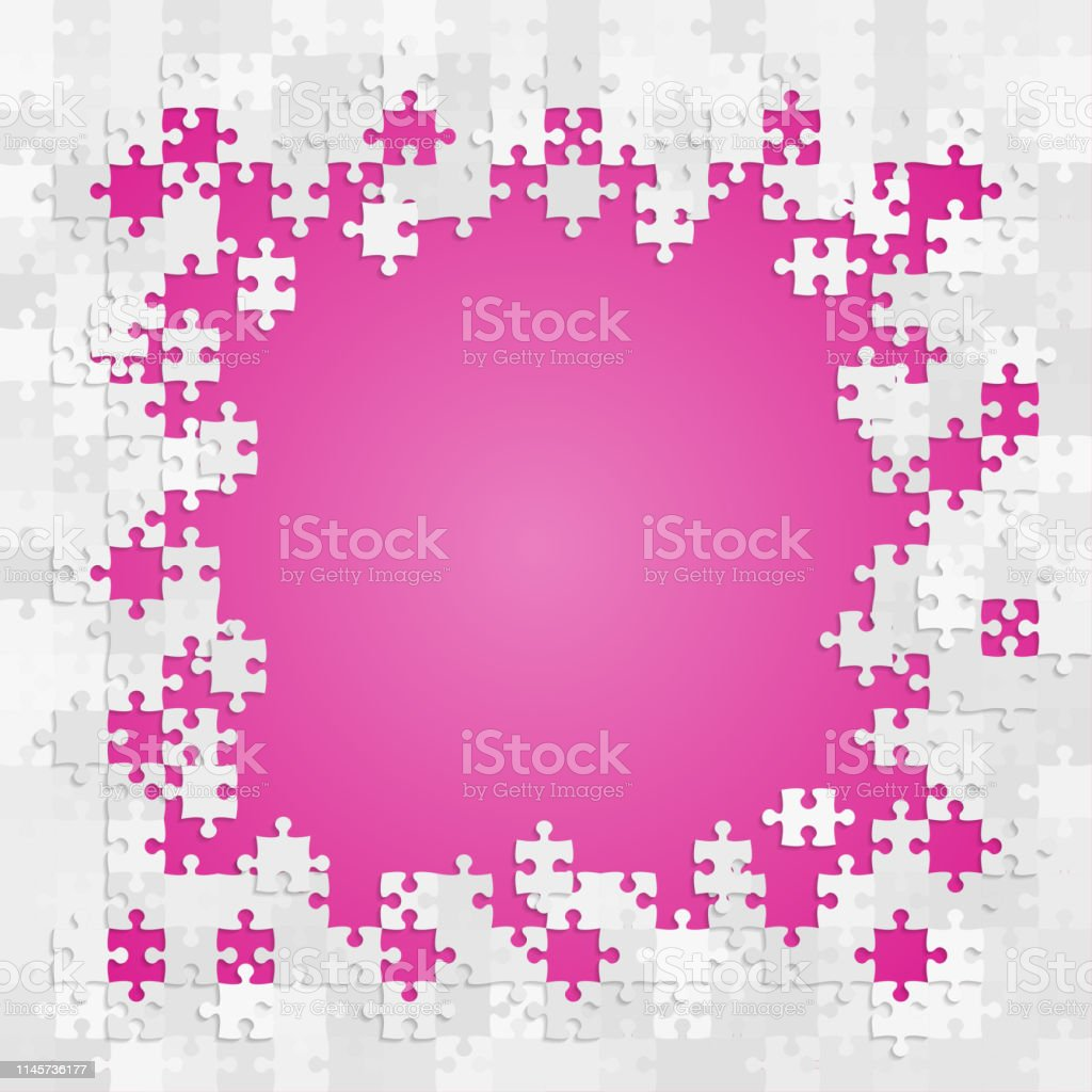 Puzzle Jigsaw Square Frame Pieces Details Items Stock Illustration