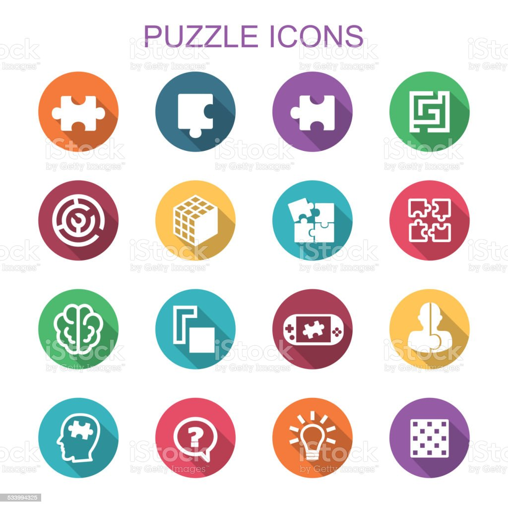 puzzle long shadow icons vector art illustration