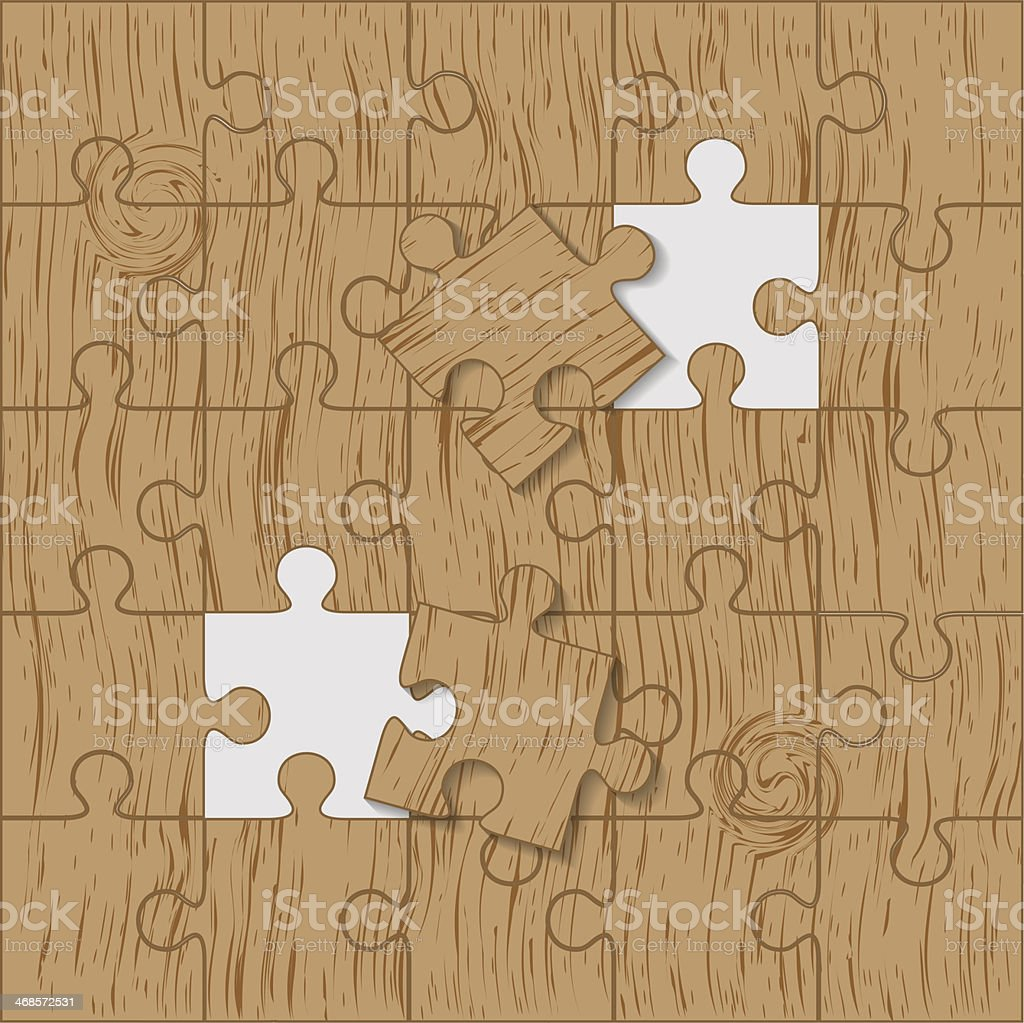 Puzzle made of wood. Vector royalty-free puzzle made of wood vector stock vector art & more images of art