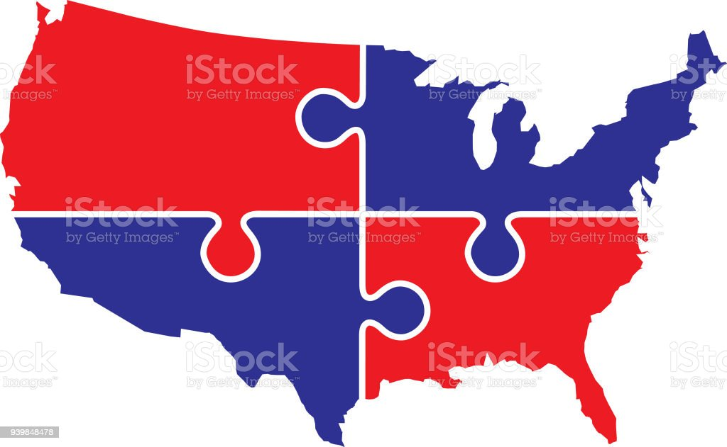 Blue Usa Map.Usa Puzzle Map Stock Vector Art More Images Of Blue 939848478 Istock