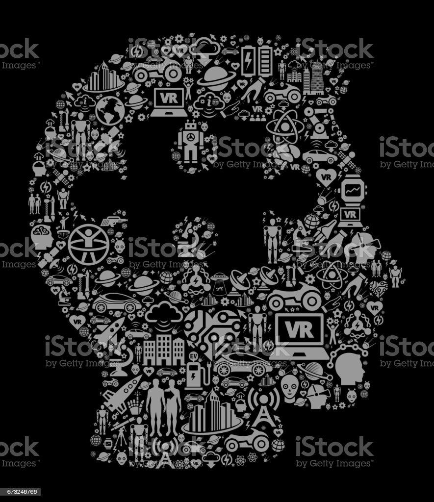 Zihin Geleceği Ve Fütüristik Teknoloji Siyah Simge Arka Plan Bulmaca
