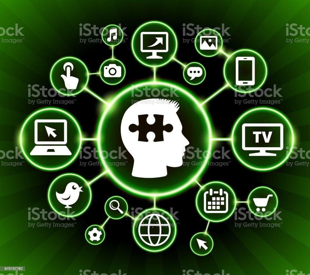 Puzzle-Geist Internet Kommunikation Technologie dunkle Buttons Hintergrund - Lizenzfrei Betrachtung Vektorgrafik