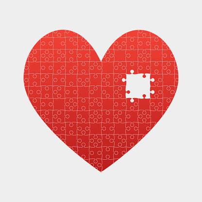 Valentine's Day Puzzle Heart Vector Art