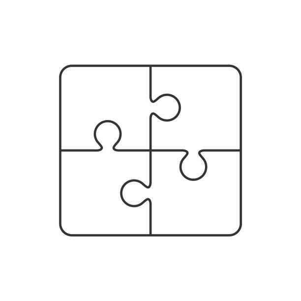 白色上的拼圖輪廓圖示向量藝術插圖