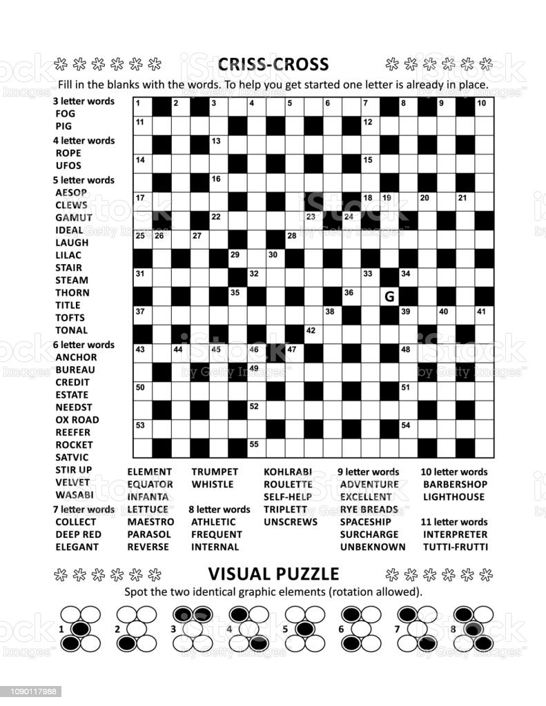 Puzzle Page With Crossword Word Game And Picture Riddle