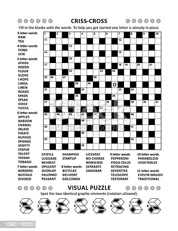 Puzzle Page With Crossword Word Game And Picture Riddle Stock Vector Art More Images Of Abstract 1090118320