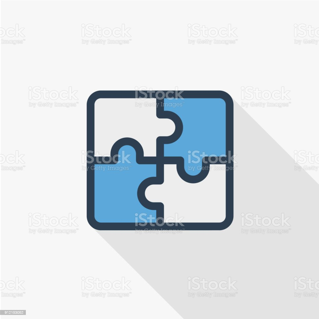 puzzle part, jigsaw piece, solution thin line flat color icon. Linear vector symbol. Colorful long shadow design.