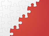 Puzzle piece background red copy space.