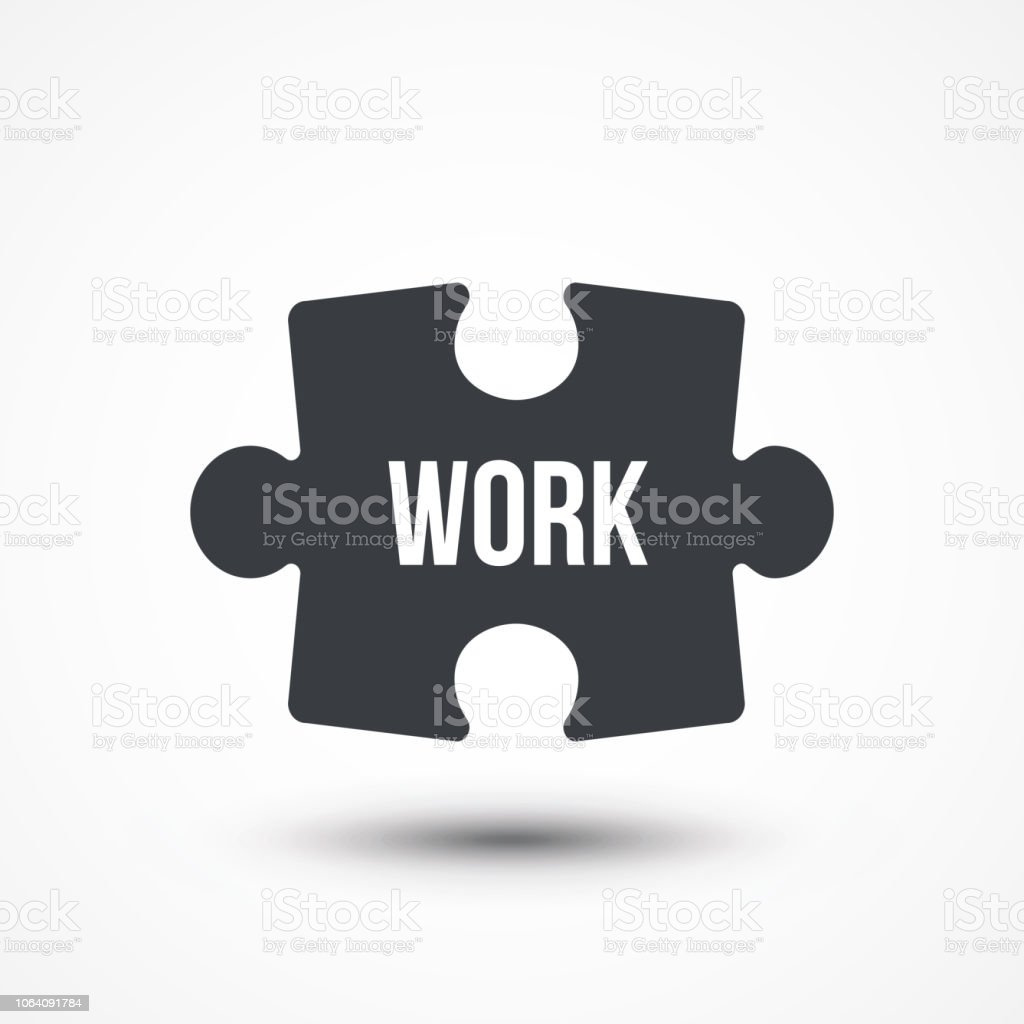 puzzle piece concept image with work word flat icon stock vector art