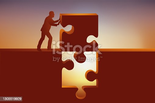 istock A puzzle piece gives the solution. 1305519929