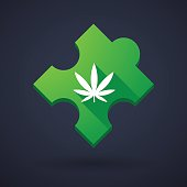 Puzzle piece icon with a marijuana leaf