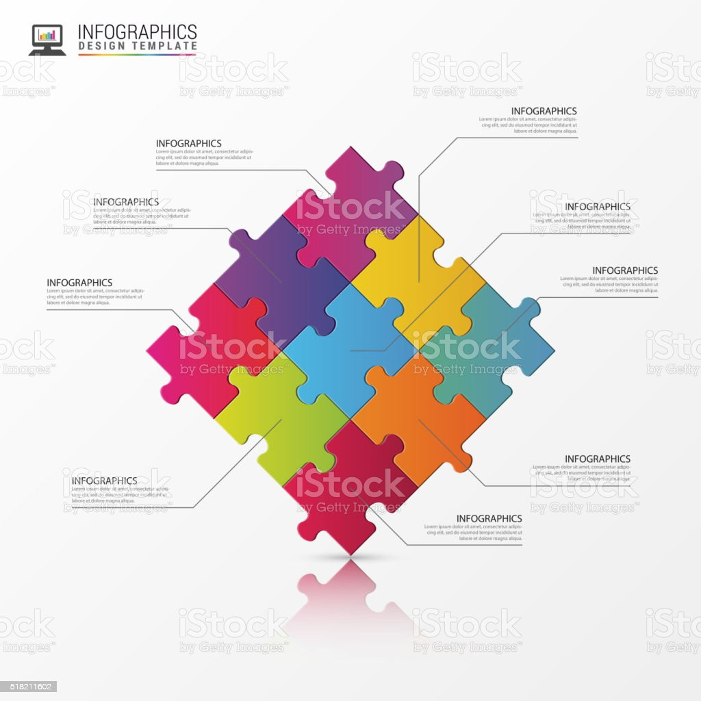 Puzzle piece infographics business concept. Vector vector art illustration