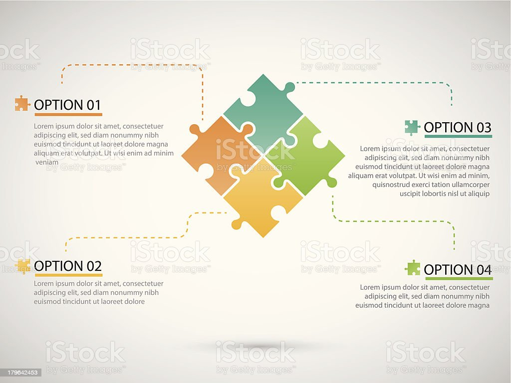 Puzzle piece infographics vector art illustration