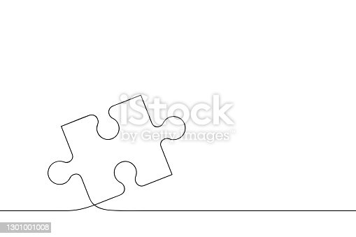 istock Puzzle piece of one continuous line drawn. Jigsaw puzzle element. 1301001008