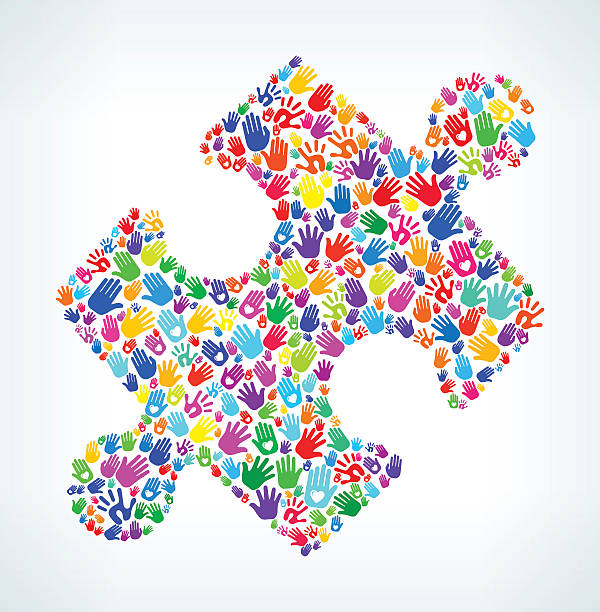 Puzzle Piece on Hands Pattern White Background Puzzle Piece royalty free vector Colorful Hand Prints interface icon Pattern. The illustration features vector arts of human hand prints. The hand prints vary in size and color. Icon download includes vector art and jpg file. Hand prints include heart shape and work in family, love, friendship community and communication concepts. pattern stock illustrations