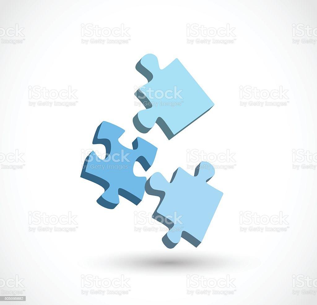 3 puzzle pieces 3d vector illustration stock vector art 505595882