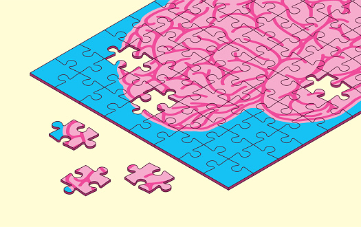 Puzzle Pieces Brain Damage Alzheimer's Memory Loss Intelligence Learning Disability Mind Games