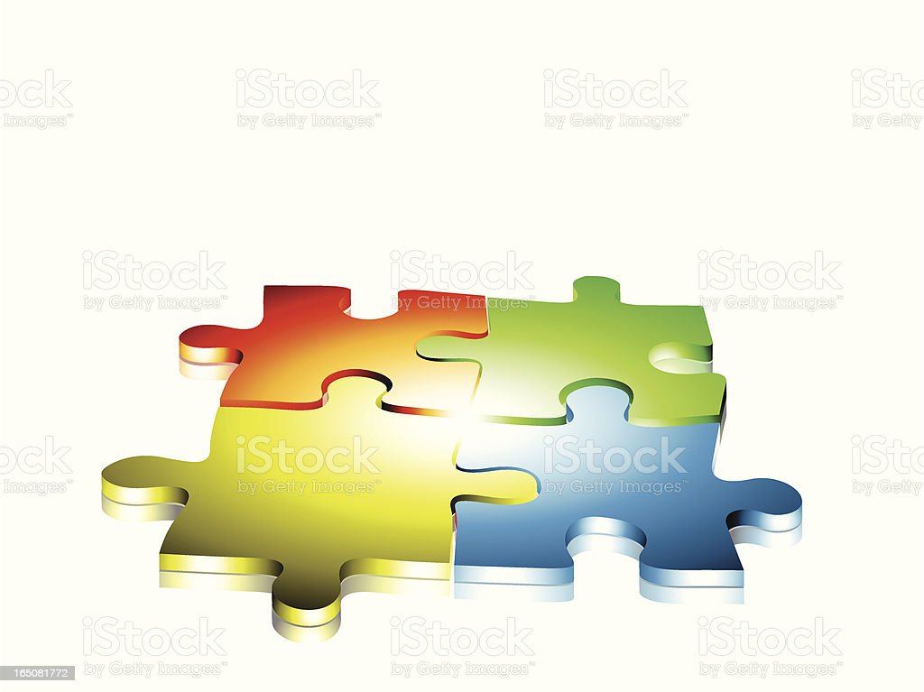 Puzzle pieces held together by a strong cohesive force. royalty-free stock vector art