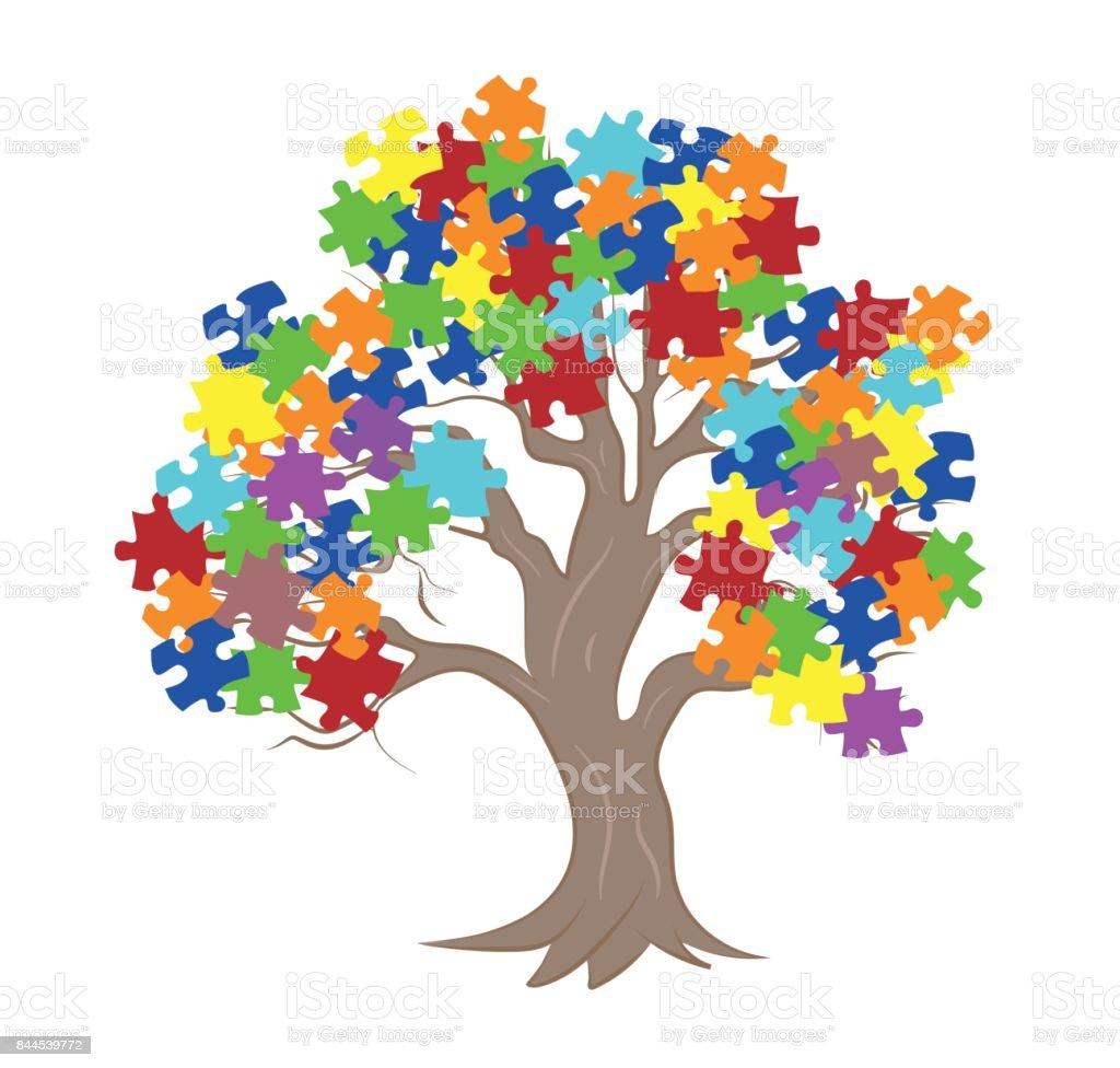 Quebra-cabeça de peças em fundo de cores de conscientização autismo, renderização em 3D - ilustração de arte em vetor