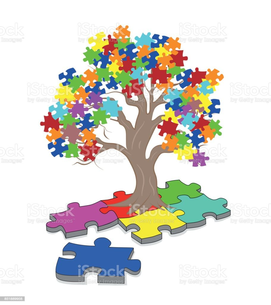 Puzzle Pieces in Autism Awareness Colors Background, 3D rendering vector art illustration