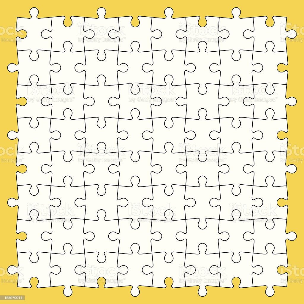 Puzzle pieces in white square on yellow background royalty-free stock vector art