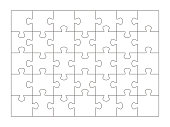 Puzzle pieces template on 35 pieces isolated on white background. Vector illustration