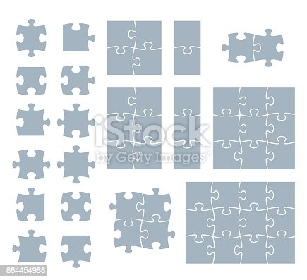 Puzzle pieces white puzzle illustration with space for your copy.