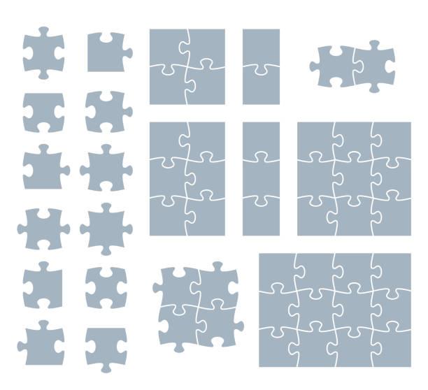 puzzle teilen  - puzzle stock-grafiken, -clipart, -cartoons und -symbole
