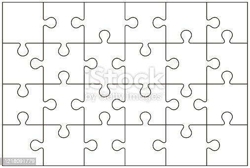 Puzzle pieces vector illustration isolated on white background. Jigsaw puzzle pieces.