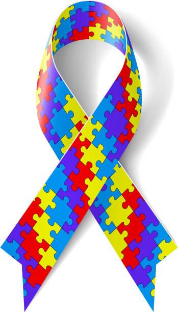 Puzzle ribbon vector art illustration
