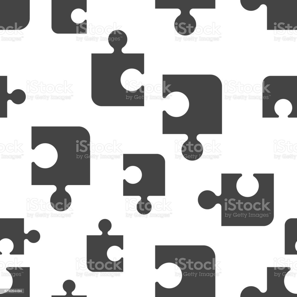 Puzzle Seamless Pattern Background Icon Business Flat Vector