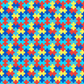 Puzzle seamless pattern. Vector stock illustration. Symbol of autism.