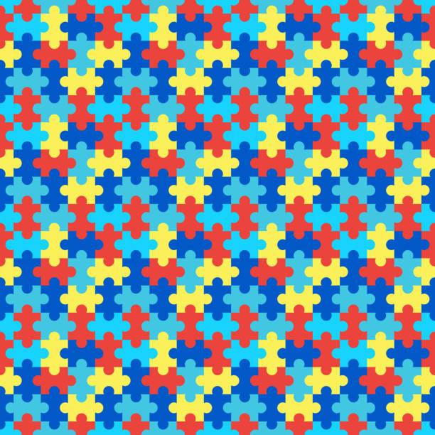 ilustraciones, imágenes clip art, dibujos animados e iconos de stock de patrón sin costuras del rompecabezas - autism