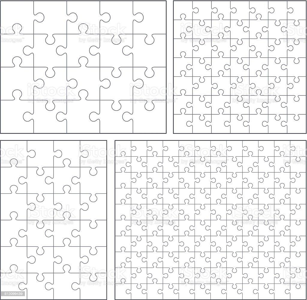 Puzzle set: 20, 24, 49, 120 pieces vector art illustration