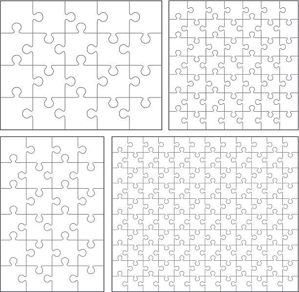 puzzle set: 20., 24., 49, 120 stücke - puzzle stock-grafiken, -clipart, -cartoons und -symbole