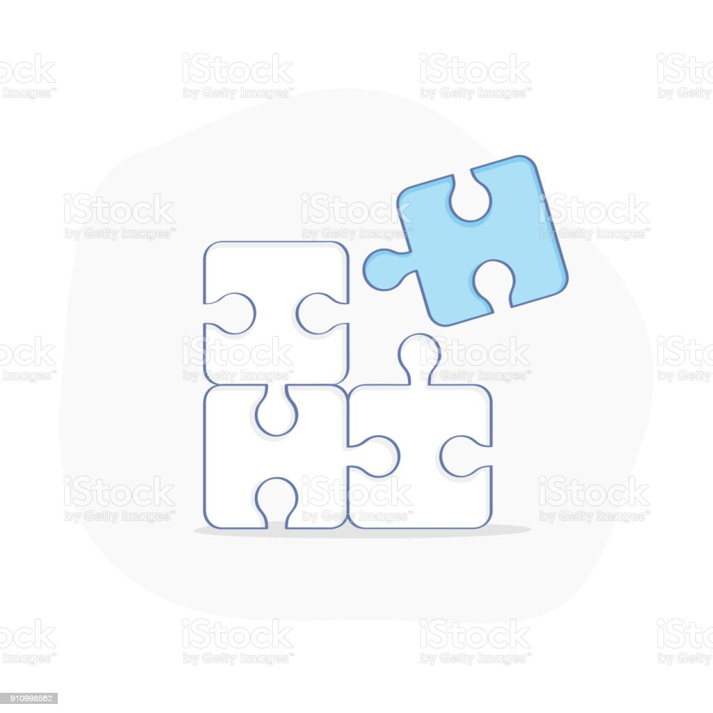 Puzzle, solution, completing, cooperation, cooperation, compatibility - Vector Illustration vector art illustration