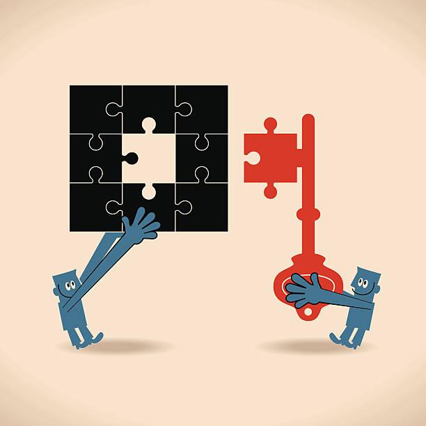 puzzle lösung puzzle stück in key - schlüsselfertig stock-grafiken, -clipart, -cartoons und -symbole