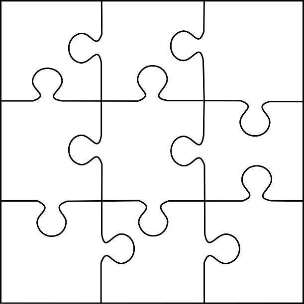 Puzzle Template 9 Pieces Vector Art Illustration