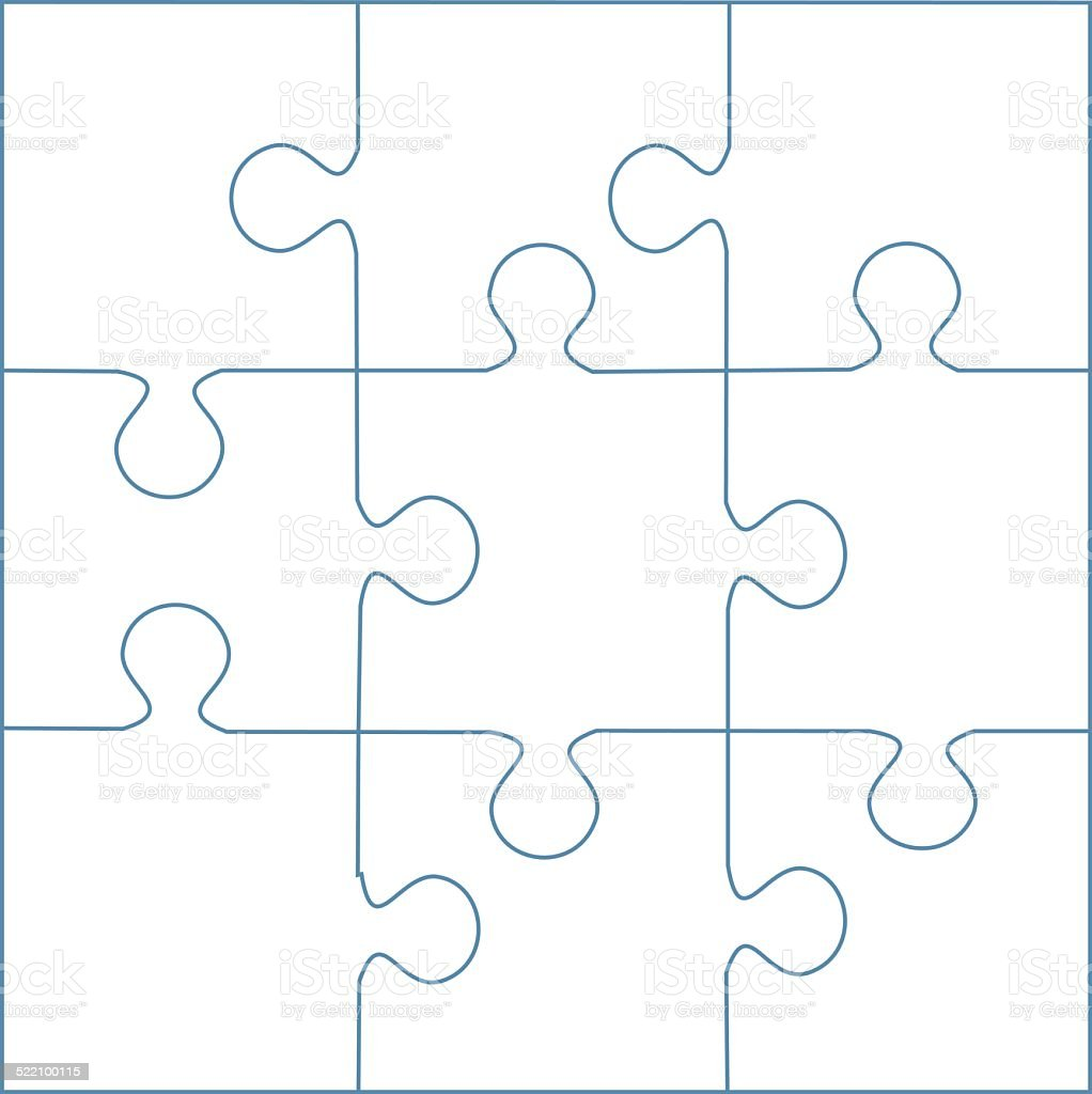 Puzzle Template 9 Pieces Vector Royalty Free Stock Art