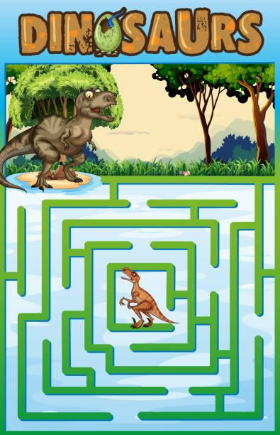 puzzle-vorlage mit dinosaurier-thema - eiszeit stock-grafiken, -clipart, -cartoons und -symbole