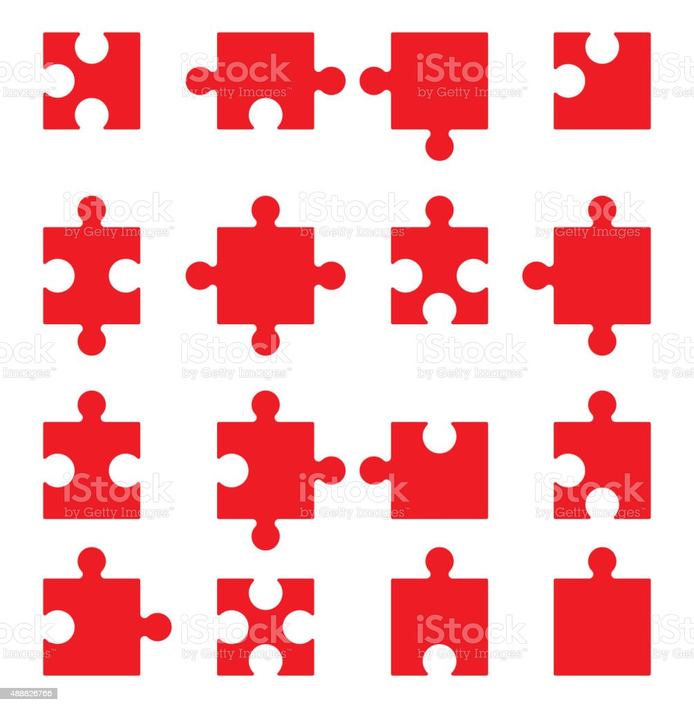 Puzzle vector icons set vector art illustration
