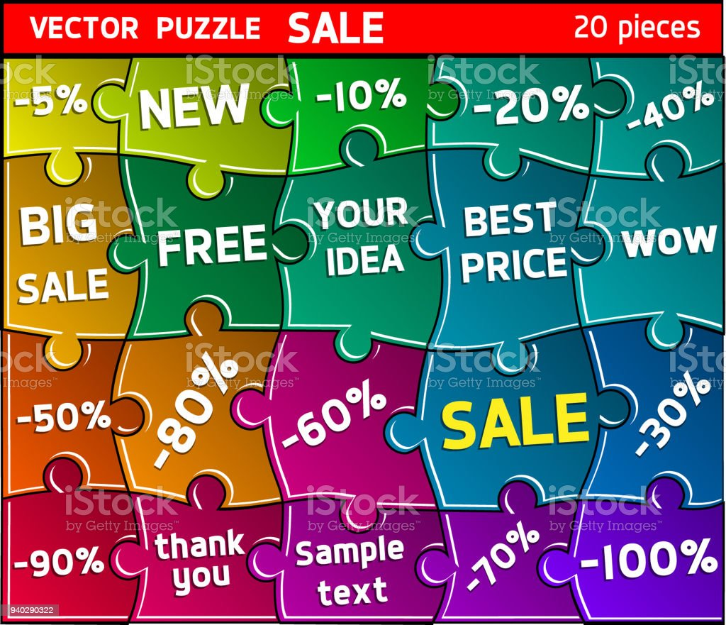 Puzzle vector illustration. Sale vector art illustration