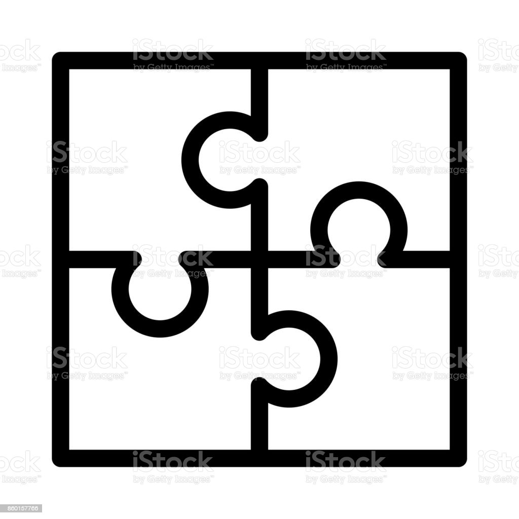 puzzle Vector Thin Line Icon