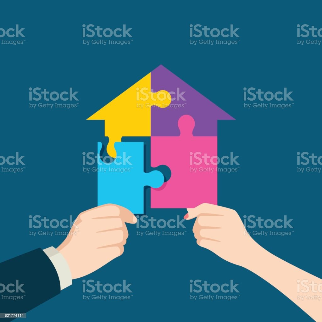 Puzzle which forming a house vector art illustration