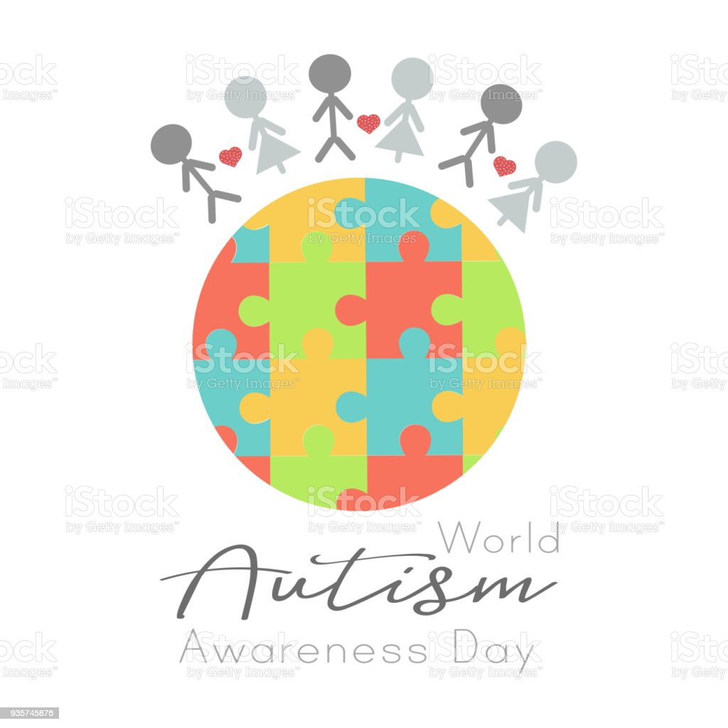 Puzzle world and people, World Autism Awareness day vector art illustration