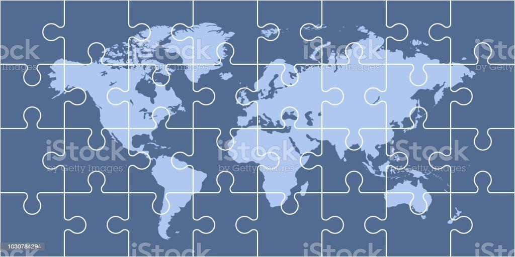 Puzzle world map vector art illustration
